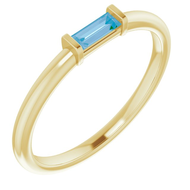 Genuine Topaz Ring in 14 Karat Yellow Gold Swiss Genuine Topaz Stackable Ring