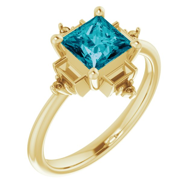 Genuine Topaz Ring in 14 Karat Yellow Gold Topaz & 1/5 Carat Diamond Geometric Ring