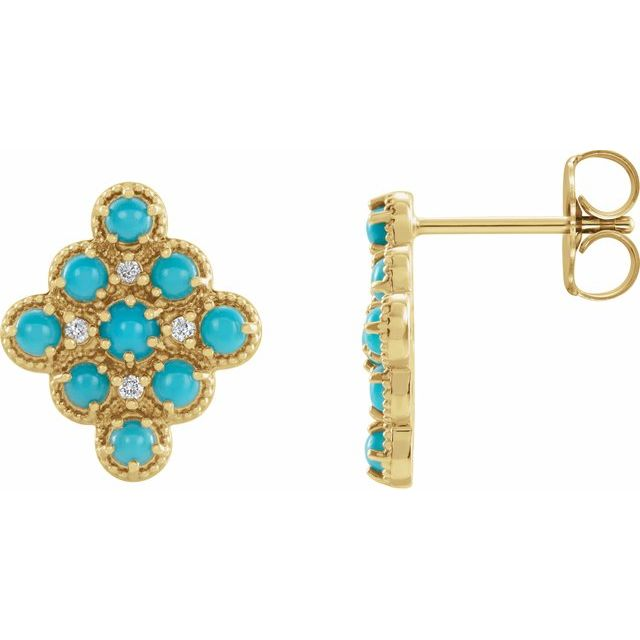 Genuine Turquoise Earrings in 14 Karat Yellow Gold Turquoise & .03 Carat Diamond Geometric Earrings