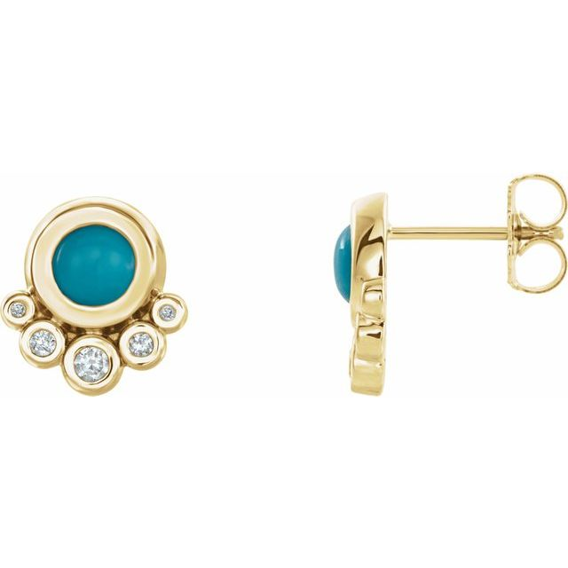 Genuine Turquoise Earrings in 14 Karat Yellow Gold Turquoise & 1/8 Carat Diamond Earrings