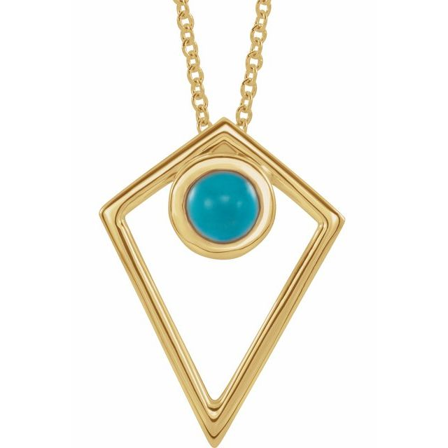 Genuine Turquoise Necklace in 14 Karat Yellow Gold Turquoise Cabochon Pyramid 16-18