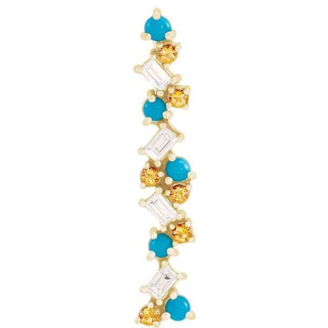 Multi-Gemstone Pendant in 14 Karat Yellow Gold Turquoise, Honey Topaz & 1/8 Carat Diamond Scattered Bar Pendant