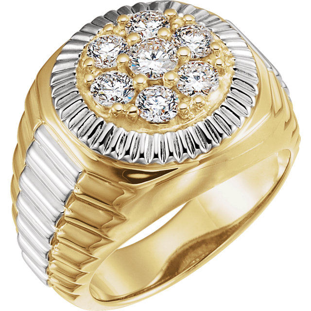 14 Karat Yellow Gold & White 0.40 Carat Diamond Men's Ring