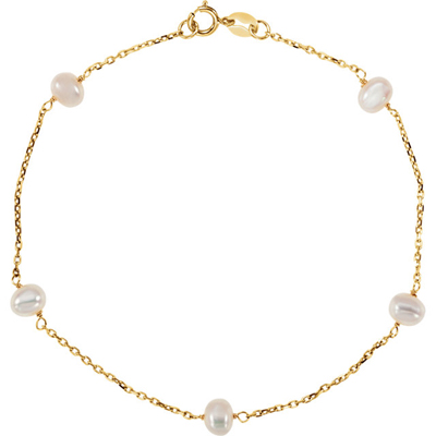 Surprise Her with  14 Karat Yellow Gold White Freshwater Cultured Pearl Station 7