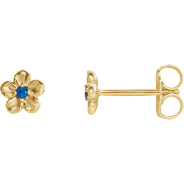 Very Nice 14 Karat Yellow Gold Youth Imitation September Birthstone Flower Earrings