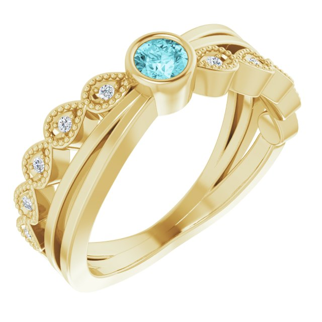 Genuine Zircon Ring in 14 Karat Yellow Gold Zircon & .05 Carat Diamond Ring