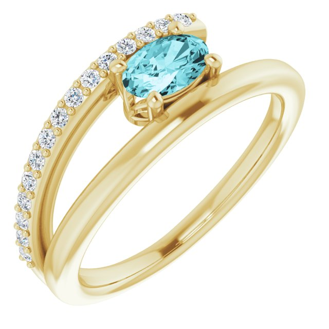 Genuine Zircon Ring in 14 Karat Yellow Gold Zircon & 1/8 Carat Diamond Ring