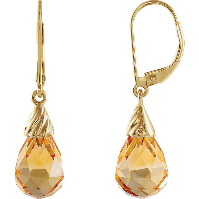 Stunning 14 Karat Yellow Gold Citrine Briolette Earrings