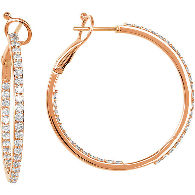 Chic 14 Karat Rose Gold 1 0.33 Carat Total Weight Diamond Inside/Outside Hoops