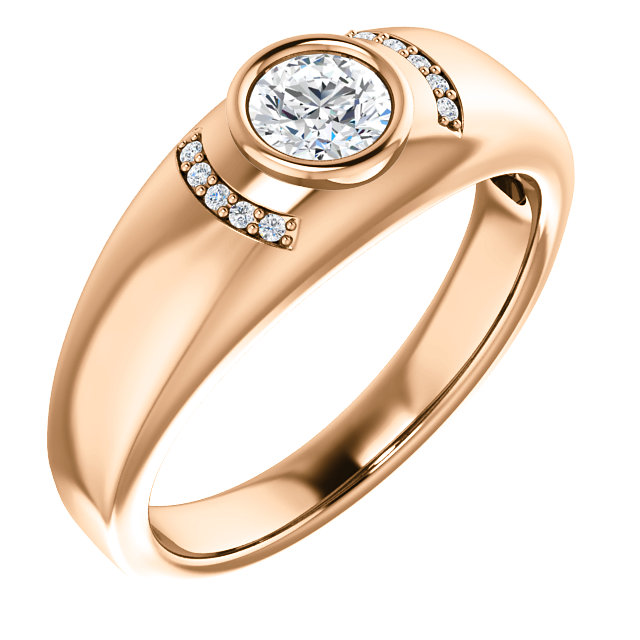 Buy 14 Karat Rose Gold 0.50 Carat Diamond Men's Bezel Ring