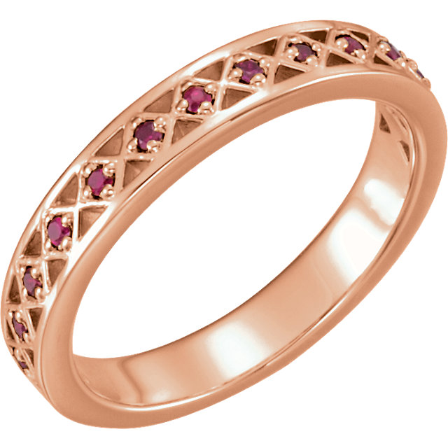 Genuine  14 Karat Rose Gold Ruby Stackable Ring