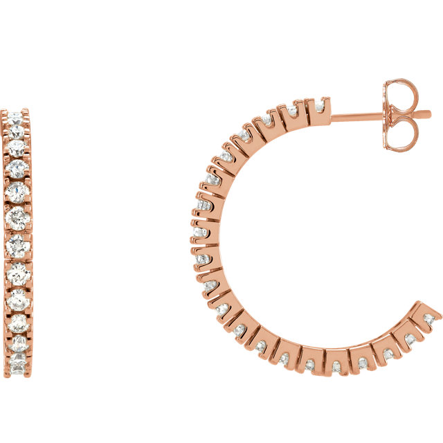 Fine Quality 14 Karat Rose Gold 1 0.60 Carat Total Weight Diamond Hoop Earrings