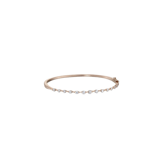 Exquisite 14 Karat Rose Gold 1 Carat Total Weight Round Genuine Diamond Bangle Bracelet