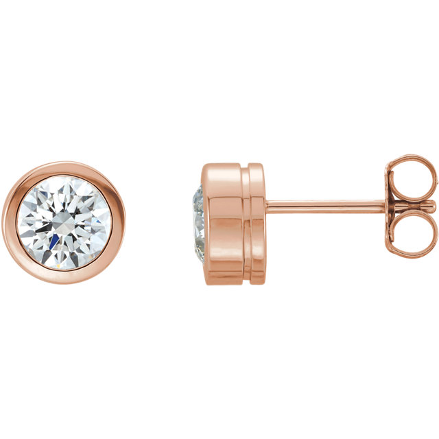 Great Deal in 14 Karat Rose Gold 0.50 Carat Total Weight Diamond Earrings
