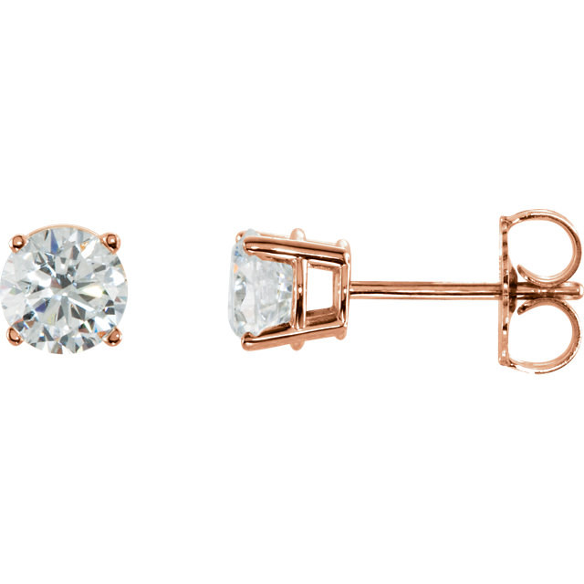 Wonderful 14 Karat Rose Gold 1 Carat Total Weight Diamond Earrings