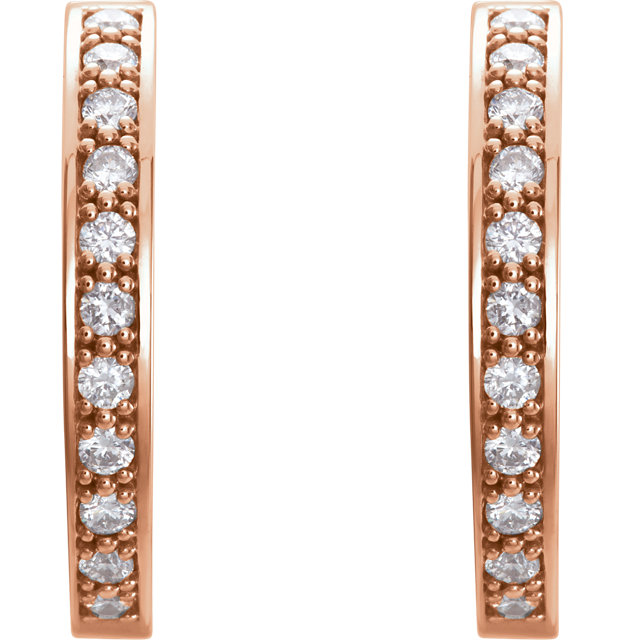 Must See 14 Karat Rose Gold 1 Carat Total Weight Diamond Hoop Inside/Outside Earrings