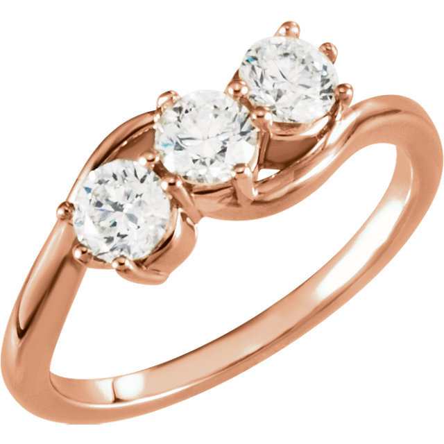 Buy Real 14 KT Rose Gold 1 Carat TW Diamond Three-Stone Ring