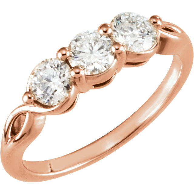 14 KT Rose Gold 1 Carat TW Diamond Three-Stone Ring