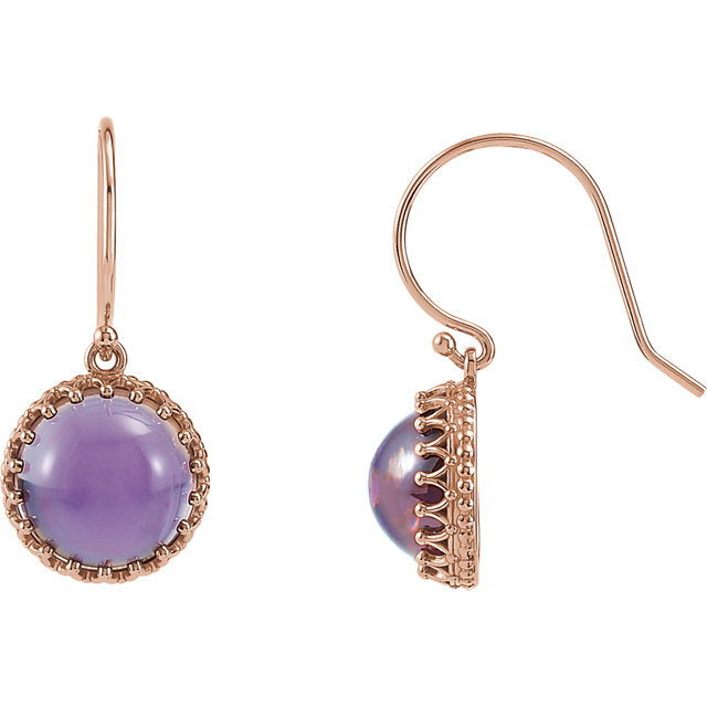 Great Buy in 14 Karat Rose Gold 10mm Amethyst Dangle Earrings