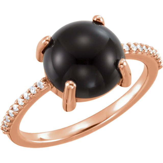 Surprise Her with  14 Karat Rose Gold 10mm Round Cabochon Onyx & .08 Carat Total Weight Diamond Ring