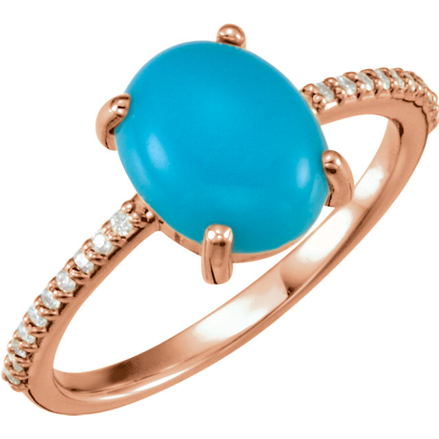 Gorgeous 14 Karat Rose Gold 10x8mm Oval Cabochon Turquoise & 0.10 Carat Total Weight Diamond Ring