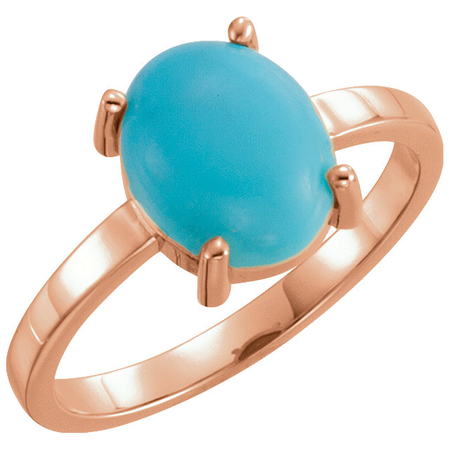 Stunning 14 Karat Rose Gold 10x8mm Oval Turquoise Cabochon Ring