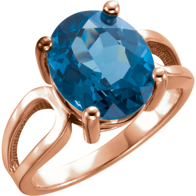 14 Karat Rose Gold 12x10mm Oval London Blue Topaz Ring