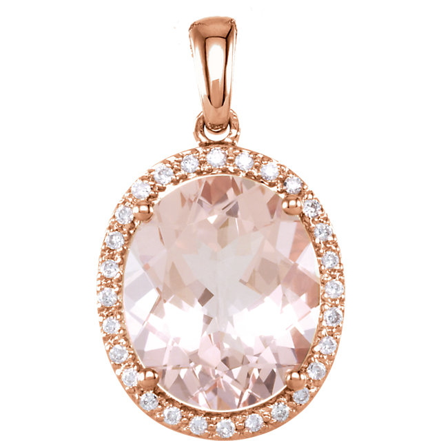 14 KT Rose Gold 12x10mm Oval Morganite & 1/10 Carat TW Diamond Pendant