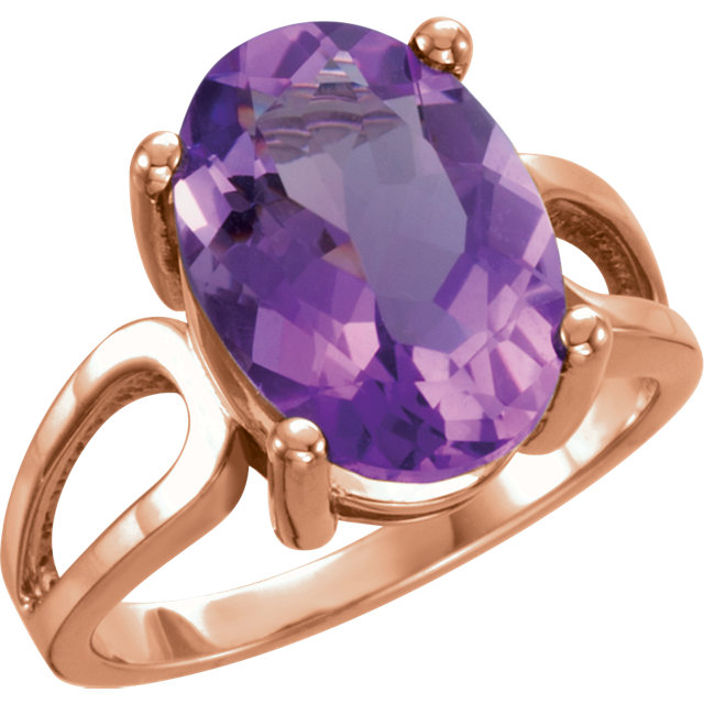 Perfect Gift Idea in 14 Karat Rose Gold 14x10mm Oval Amethyst Ring