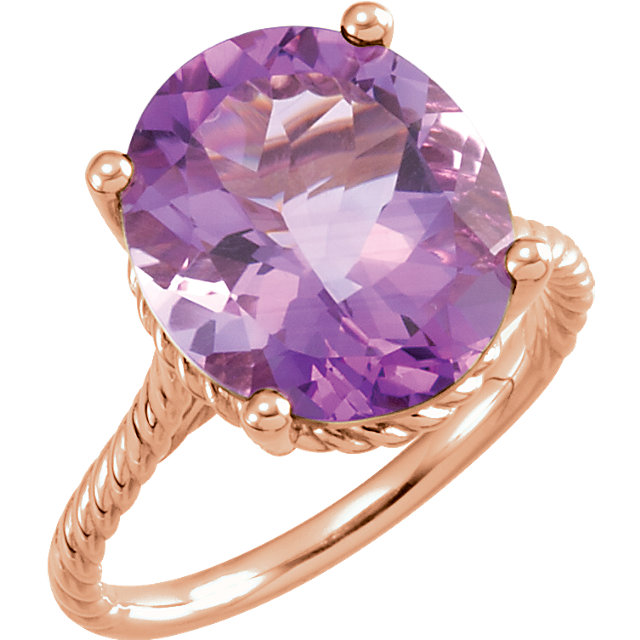 Great Deal in 14 Karat Rose Gold 14x12mm Amethyst Rope Ring
