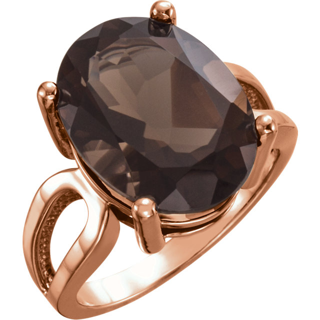 Contemporary 14 Karat Rose Gold 16x12mm Oval Smoky Quartz Ring