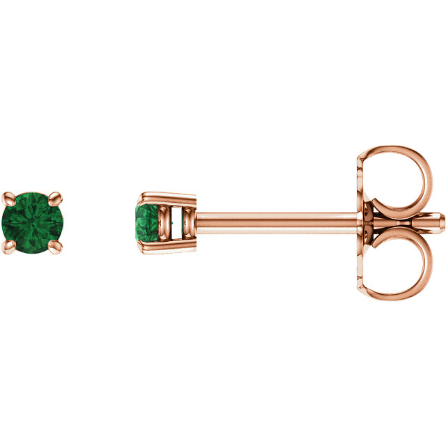 Great Gift in 14 Karat Rose Gold 2.5mm Round Emerald Earrings