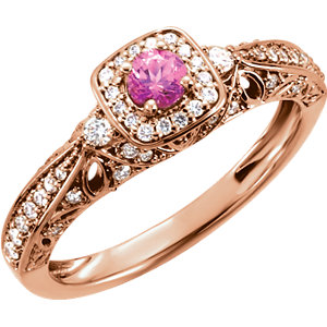 14KT Rose Gold 3.75mm Round Pink Sapphire & 1/3 Carat Total Weight Diamond Ring