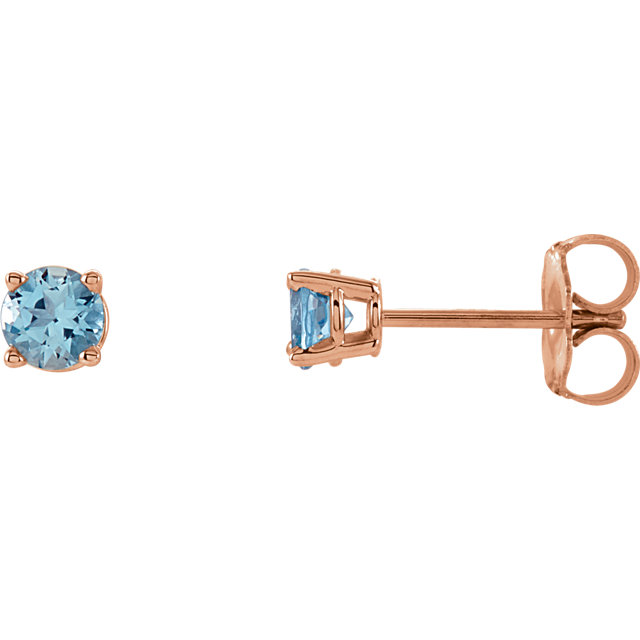 Great Buy in 14 Karat Rose Gold 4mm Round Aquamarine Earrings