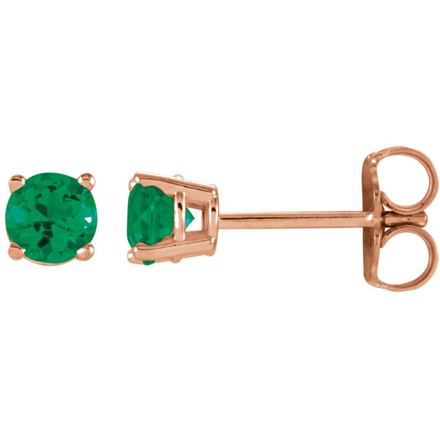14 Karat Rose Gold 4mm Round Emerald Earrings