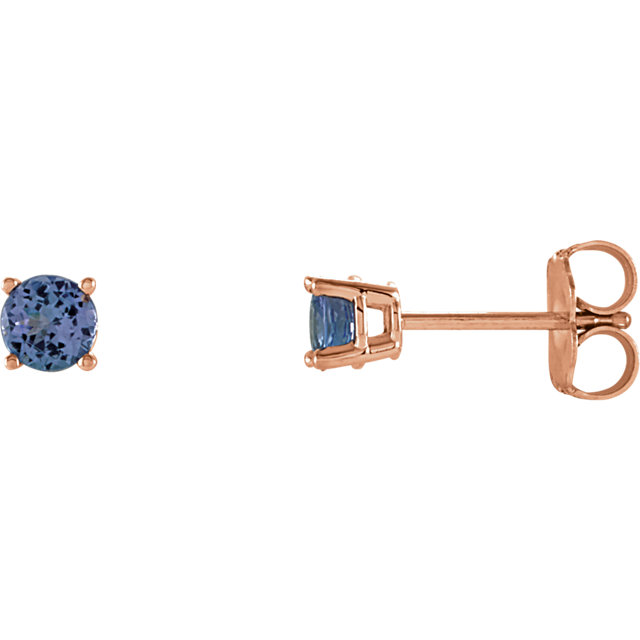 Contemporary 14 Karat Rose Gold 4mm Round Tanzanite Earrings