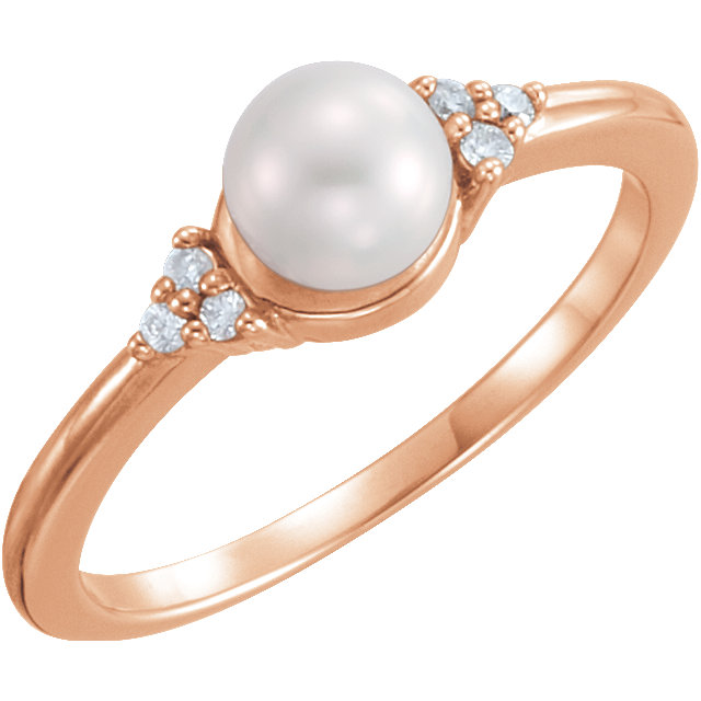 Great Buy in 14 KT Rose Gold 5.5-6mm Freshwater Cultured Pearl & .06 Carat TW Diamond Ring