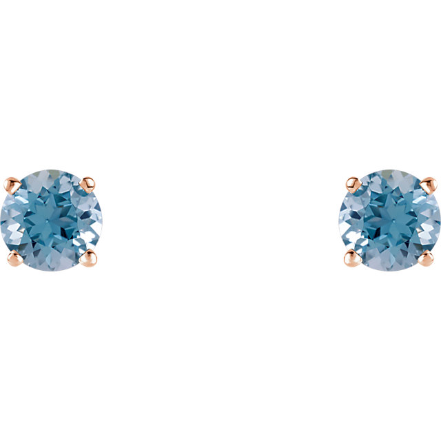 Eye Catchy 14 Karat Rose Gold 5mm Round Aquamarine Earrings