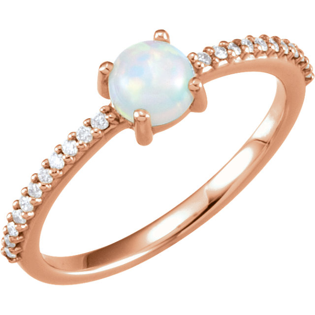 Gorgeous 14 Karat Rose Gold 5mm Round Cabochon Genuine Chatham Created Created Opal & 0.12 Carat Total Weight Diamond Ring