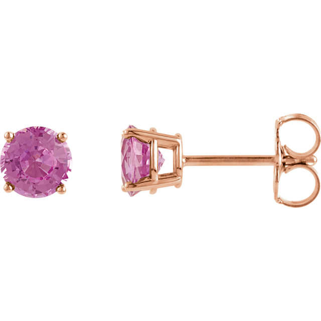 Contemporary 14 Karat Rose Gold 5mm Round Pink Sapphire Earrings