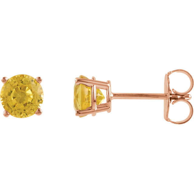 Easy Gift in 14 Karat Rose Gold 5mm Round Yellow Sapphire Earrings