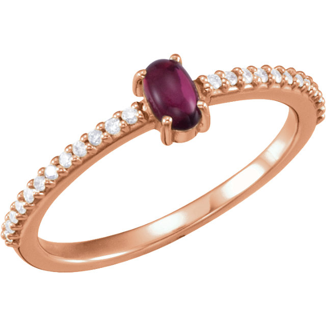 Great Buy in 14 KT Rose Gold 5x3mm Oval Cabochon Pink Tourmaline & 0.12 Carat TW Diamond Ring