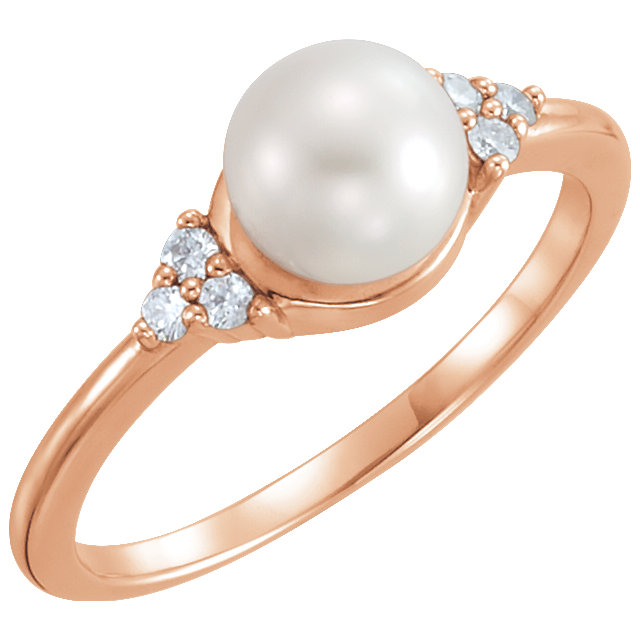 Appealing Jewelry in 14 Karat Rose Gold 6.5-7mm Freshwater Cultured Pearl & .09 Carat Total Weight Diamond Ring