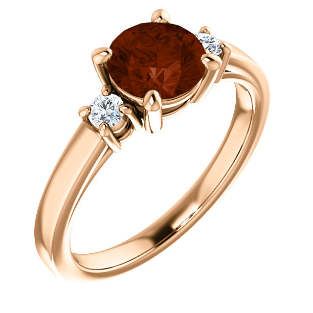 Gorgeous 14 Karat Rose Gold 6.5mm Round Mozambique Garnet & 0.12 Carat Total Weight Diamond Ring