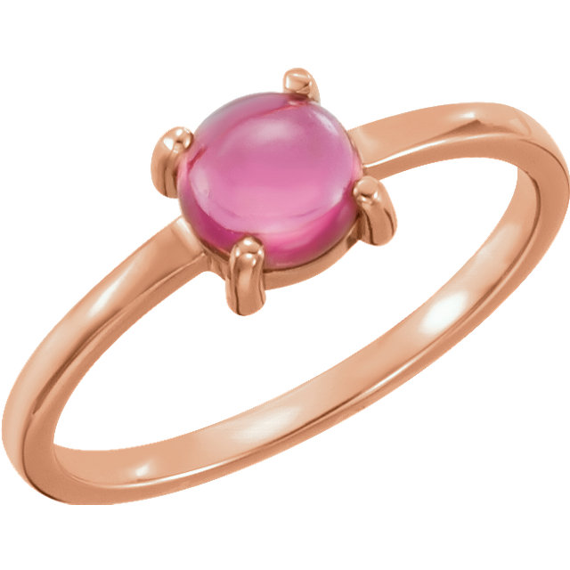 Buy Real 14 KT Rose Gold 6mm Round Pink Tourmaline Cabochon Ring