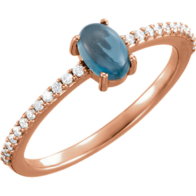 Beautiful 14 Karat Rose Gold 6x4mm Cabochon Oval Genuine London Blue Topaz & 1/8 Carat Total Weight Diamond Ring