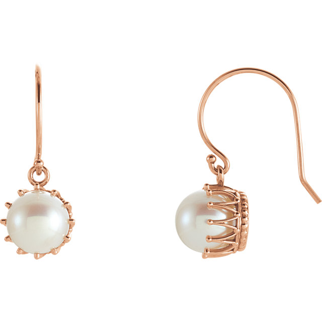 Cultured Freshwater Pearl Earrings in 14 Karat Rose Gold 7.5-8mm Freshwater Cultured Pearl Crown Earrings