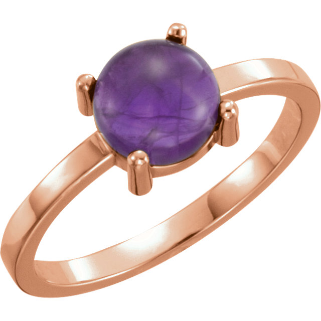 Great Gift in 14 Karat Rose Gold 7mm Round Amethyst Cabochon Ring