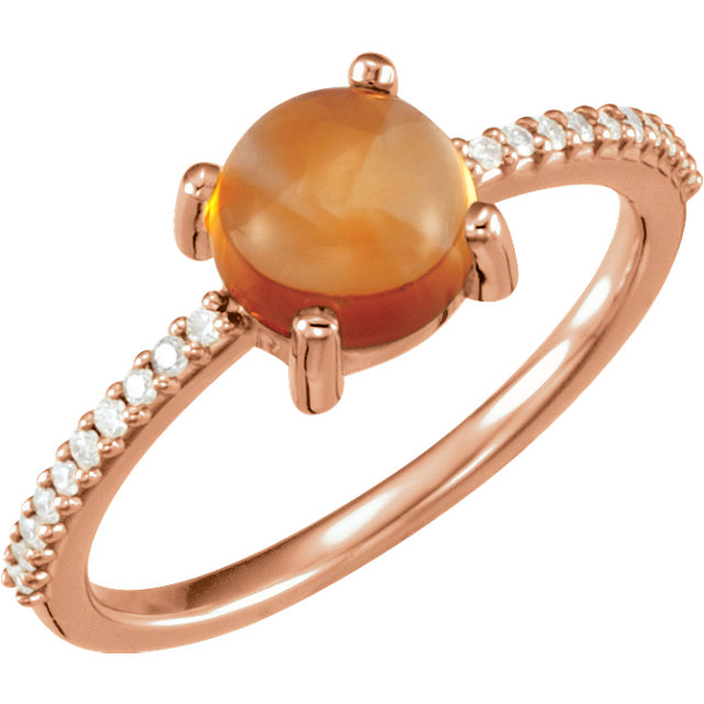 Must See 14 KT Rose Gold 7mm Round Cabochon Citrine & 0.10 Carat TW Diamond Ring