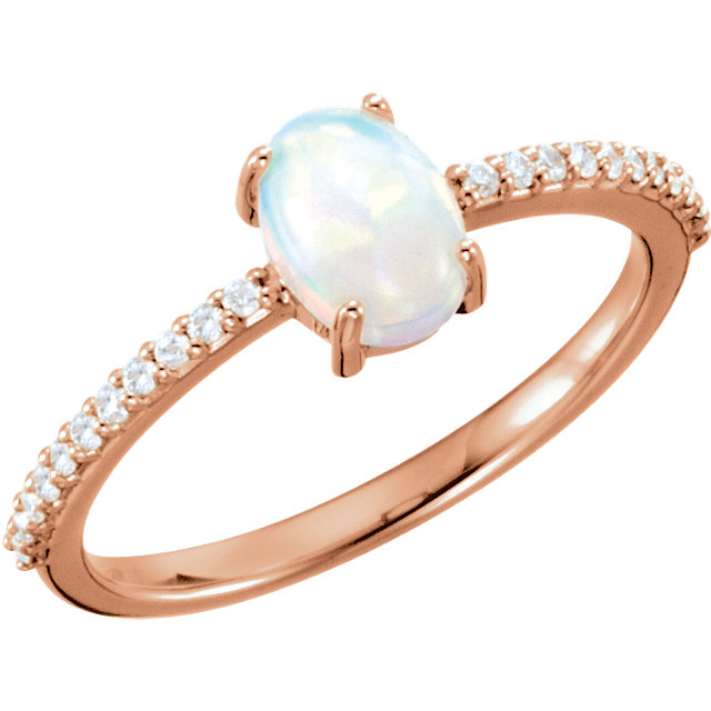 Genuine 14 Karat Rose Gold 7x5mm Oval Cabochon Genuine Chatham Opal & 0.10 Carat Diamond Ring